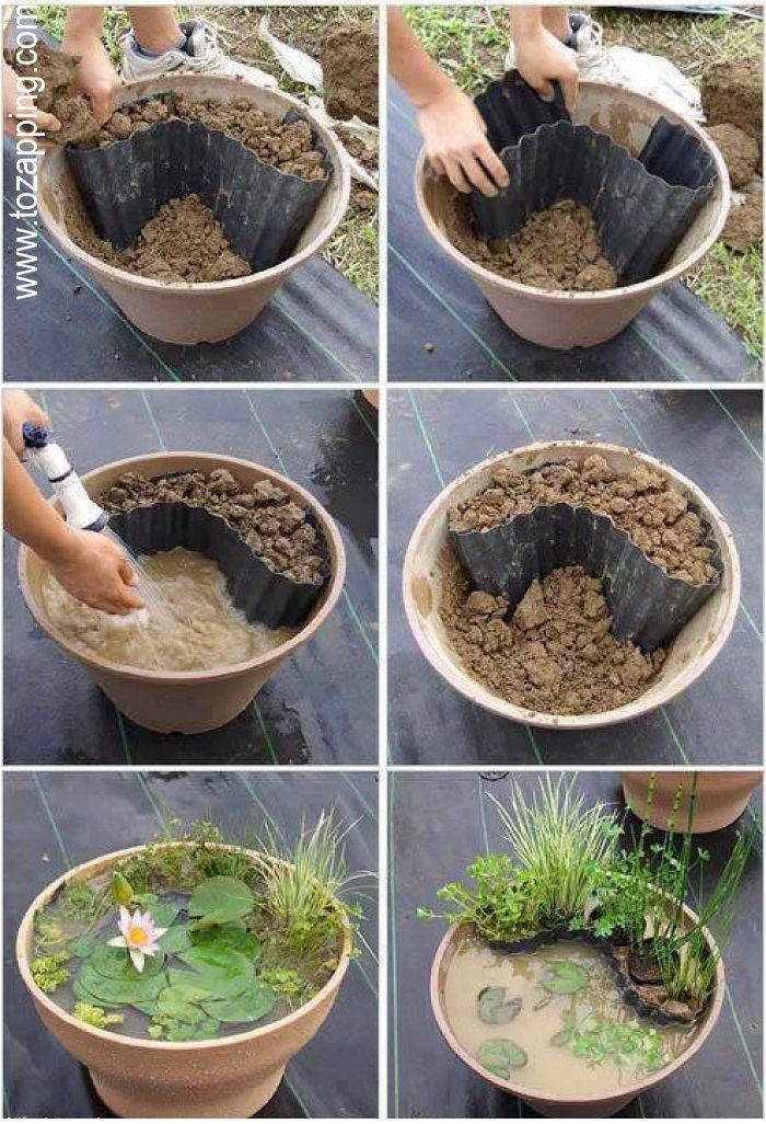 C mo hacer un mini estanque manualidades pinterest for Estanque ecologico