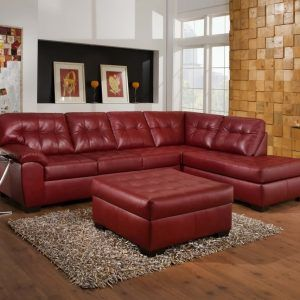 Cherry Red Leather Sectional Sofa