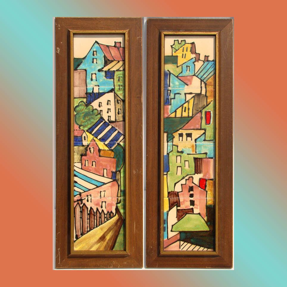 Pair of 1950s harris g strong architectural scene art pottery tile pair of 1950s harris g strong architectural scene art pottery tile wall plaques doublecrazyfo Choice Image