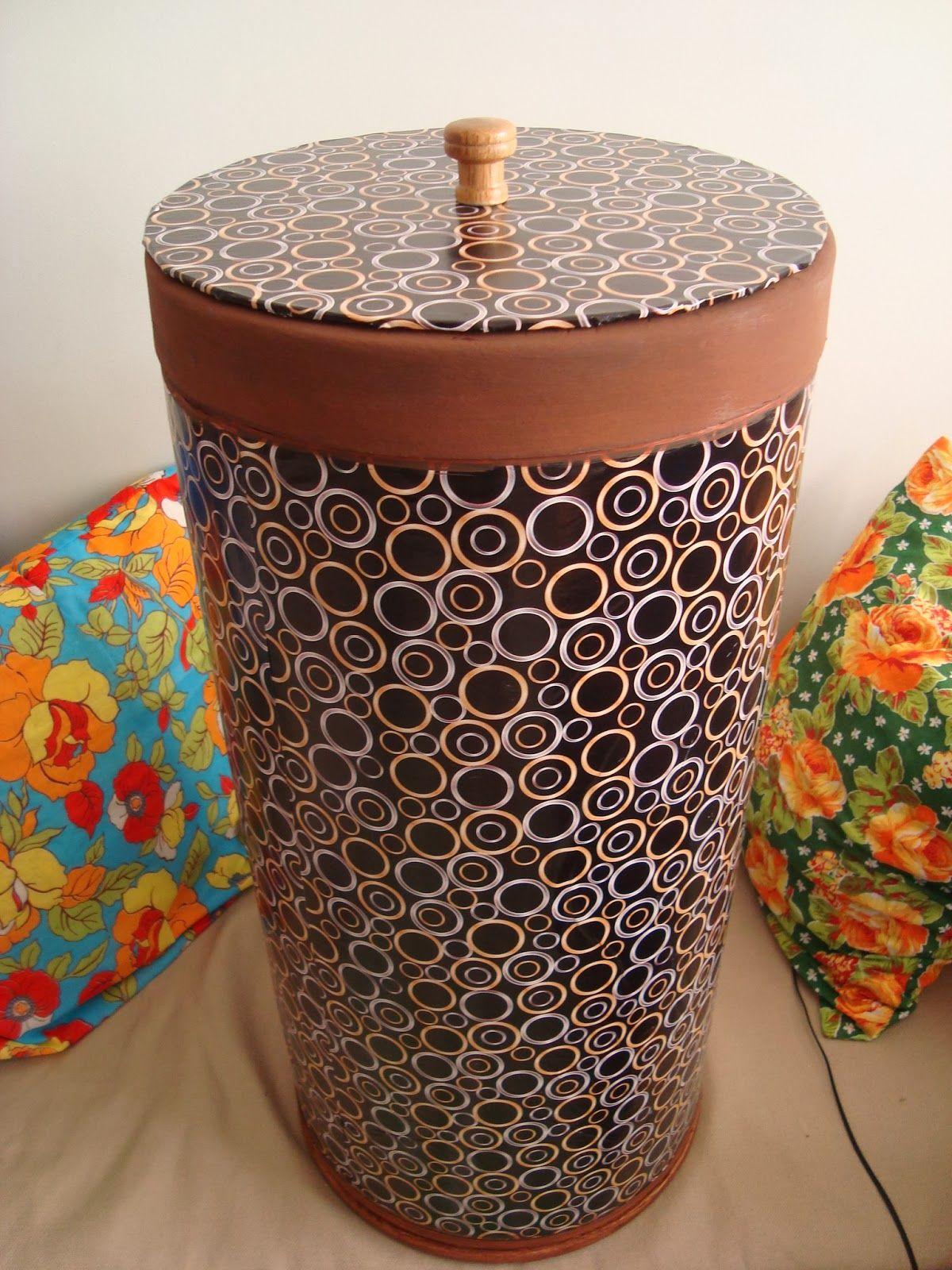 Suely Artesanato De Madeira ~ Rosa Luiza Artes e Gostosuras Barrica de papel u00e3o reciclada se transforma em baú ou cesto de
