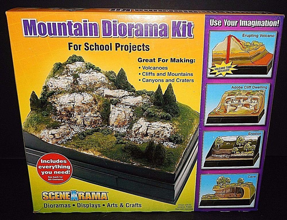Scene-A-Rama Mountain Diorama Kit Volcano Rocks Cliffs