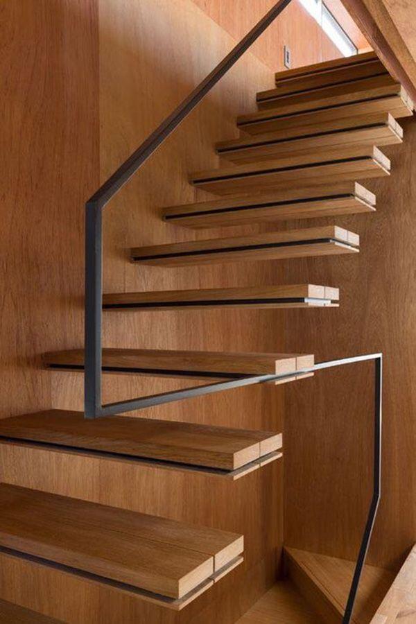 escalier-bois-contemporain-sans-limon | Great Stairs | Pinterest ...