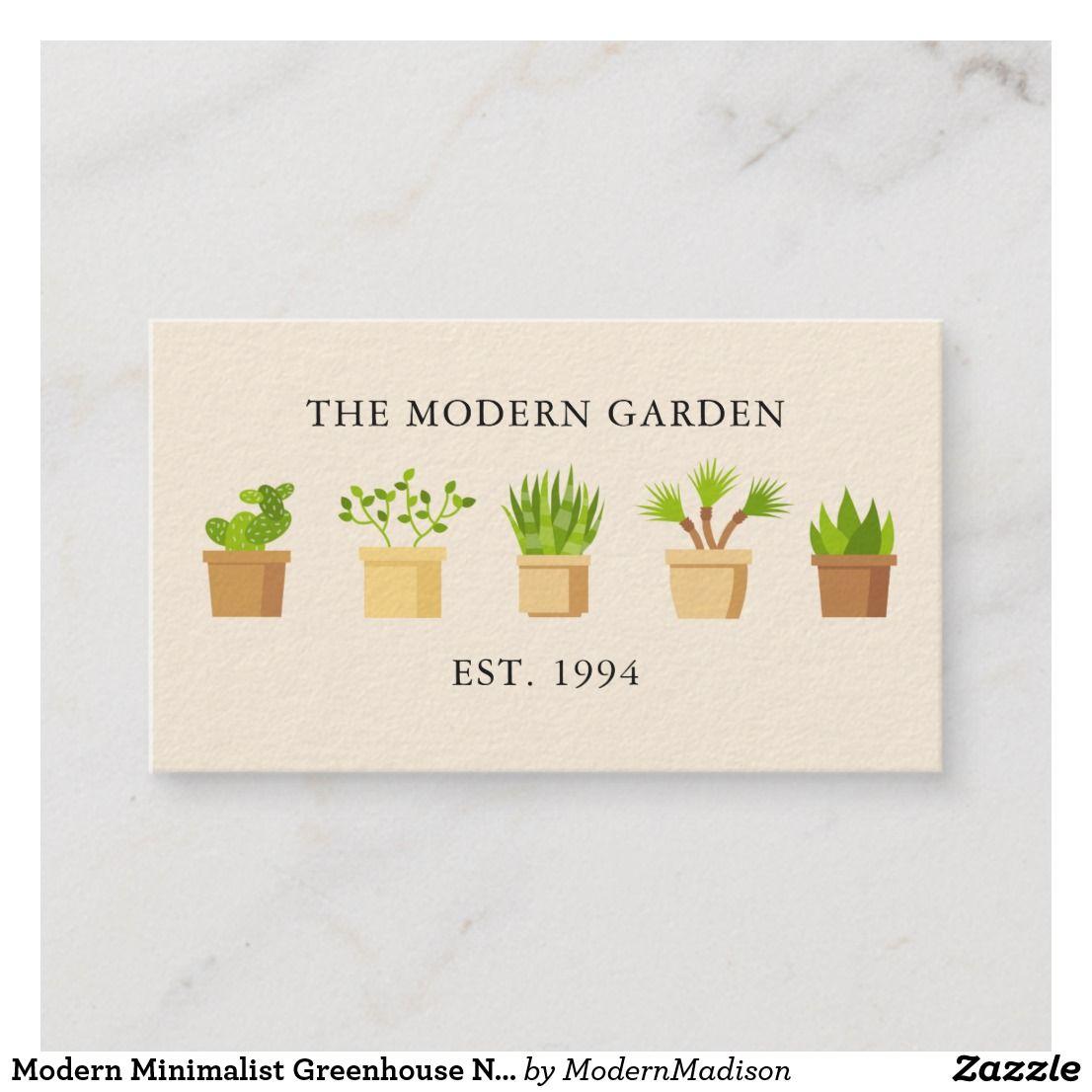 Greenhouse Nursery Plants Business Card