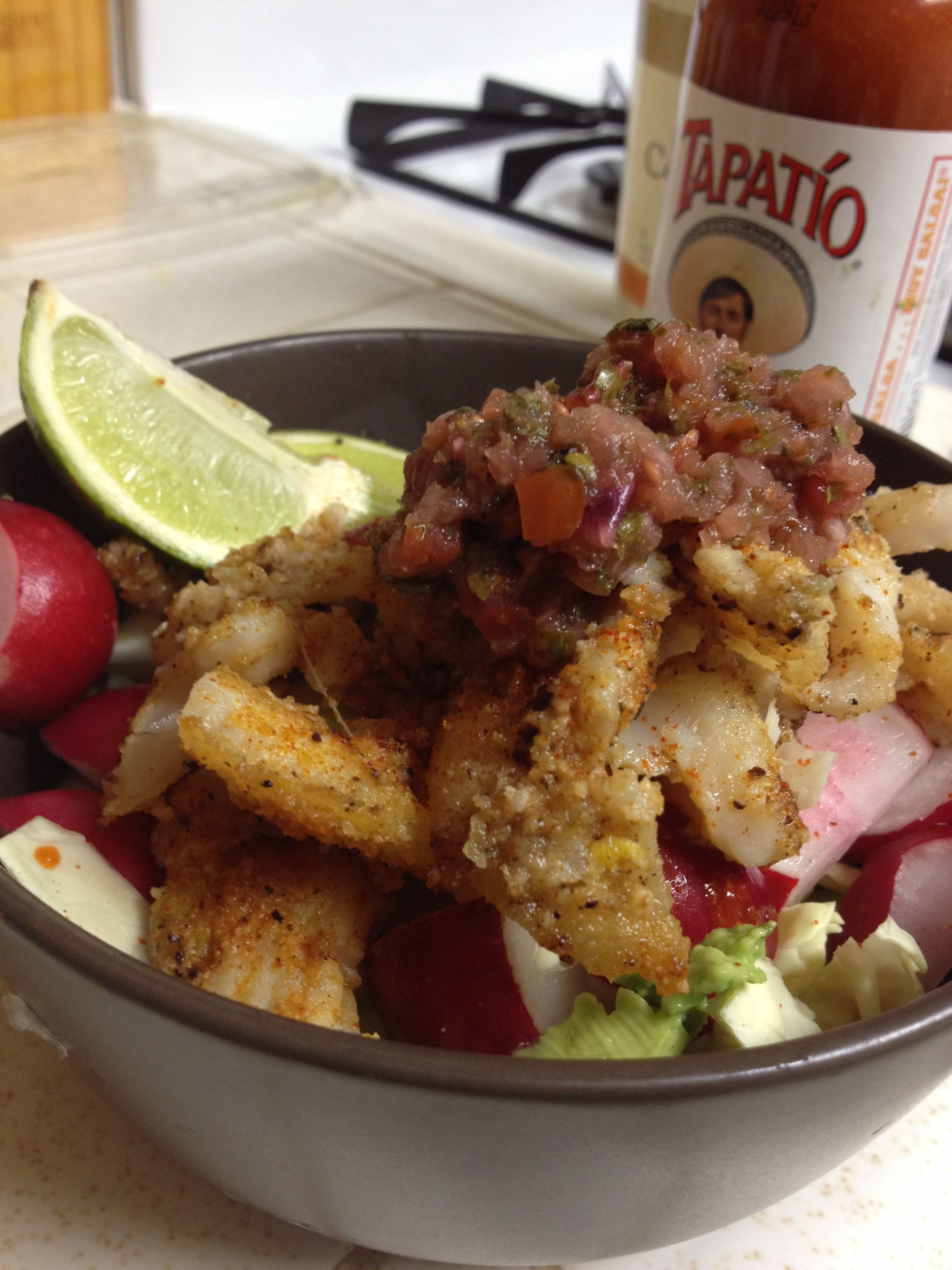 Made the fish taco bowl--so easy!!  Cabbage Radishes Salsa Lime Almond flour breaded fish  Avocado