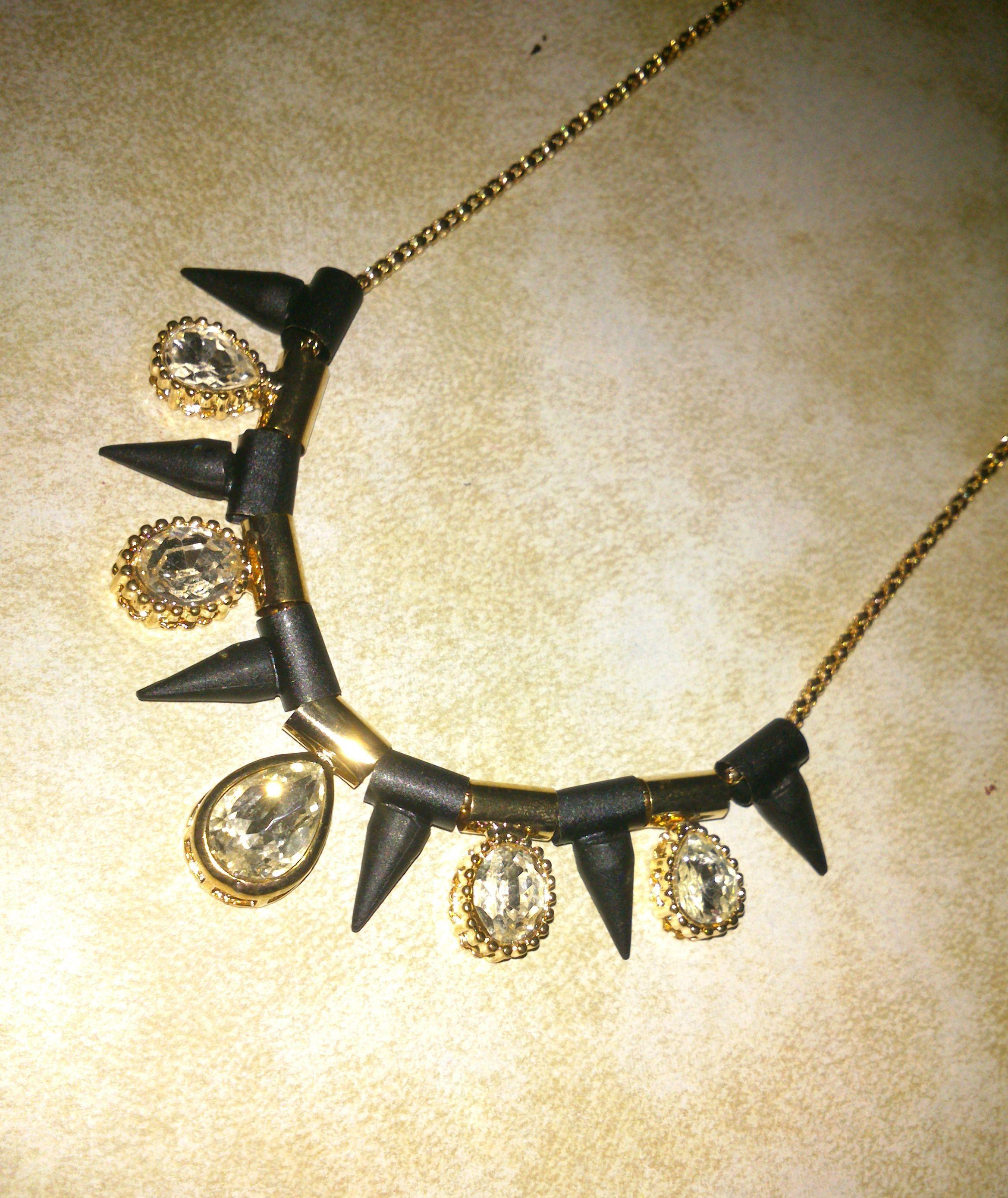 Black-White-Gold link necklace   Gold link necklace