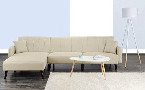 Mid Century Modern Style Linen Fabric Sleeper Futon Sofa