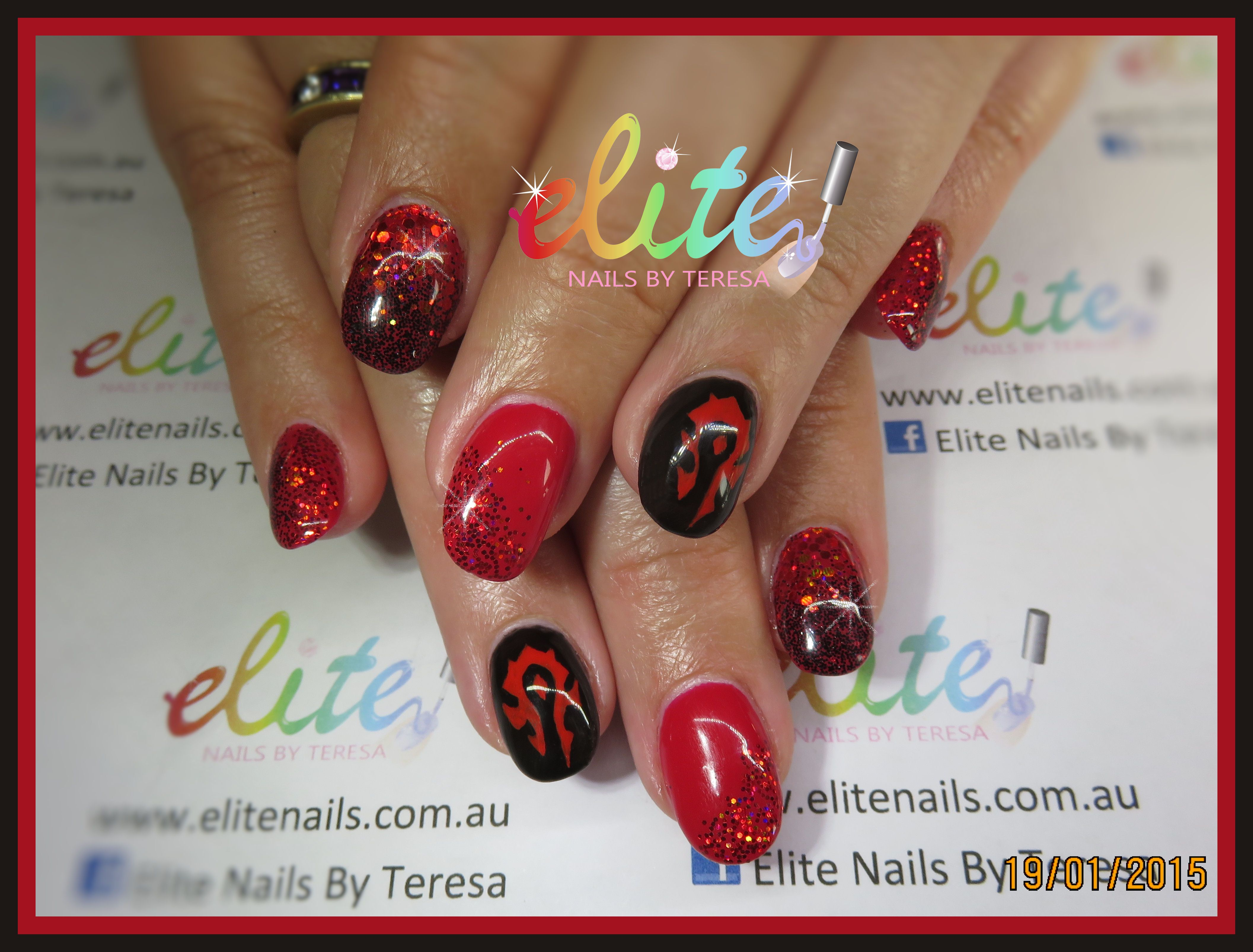 Red Black World Of Warcraft Glitter Horde Nails Nail Art Elite Cnd Shellac