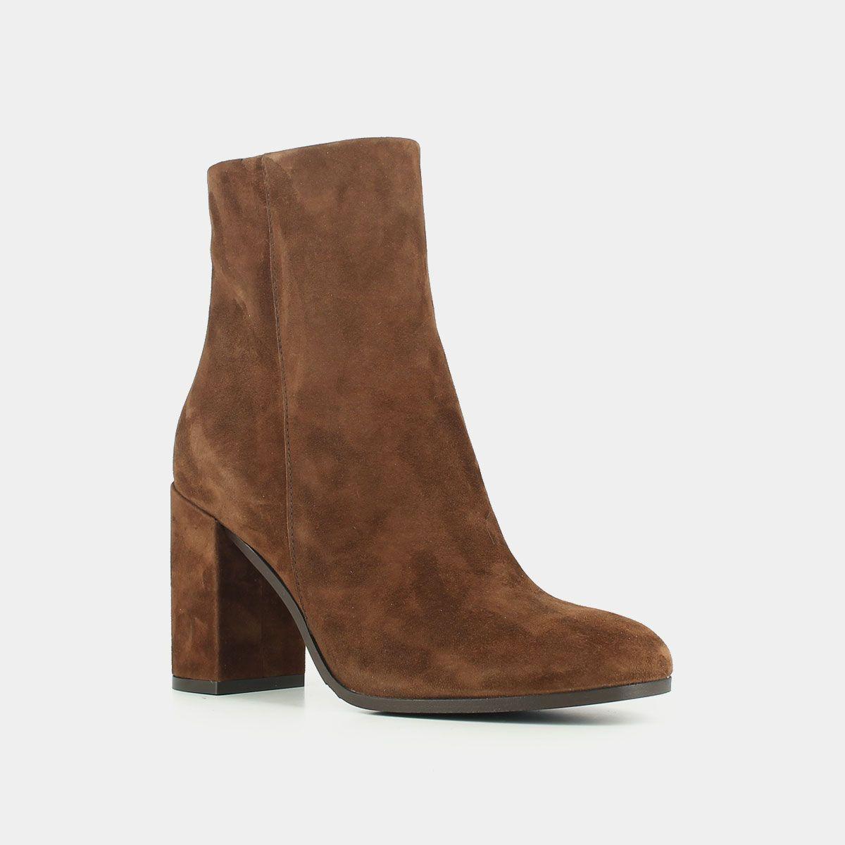 Boots en croute noisette à talon Jonak noir   Chaussure