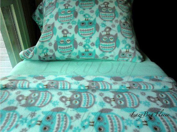 Owl Bedding Set Girls Toddler Aqua Fleece Bedding by LazyBugFleece