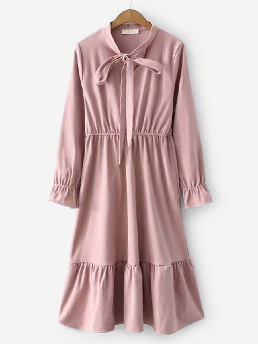 Tie Neck Ruffle Hem Corduroy Dress Shein Sheinside Model Baju Wanita Baju Atasan Wanita Gaya Model Pakaian [ 1199 x 900 Pixel ]