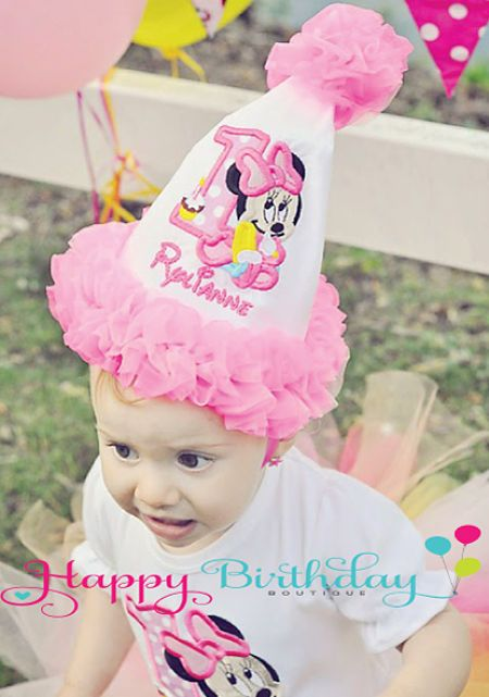 Girls Baby Minnie Mouse Birthday Hat Quick Ship