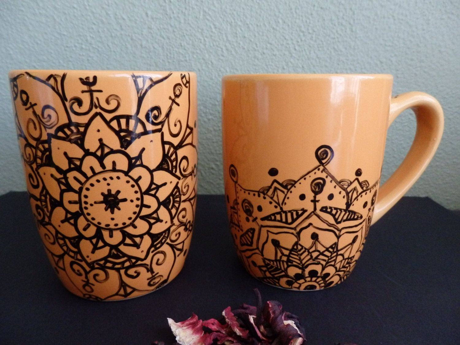 Original Coffee Mugs Hand Drawing Mandala Mugs Set Of 2 Original Drawing Cup