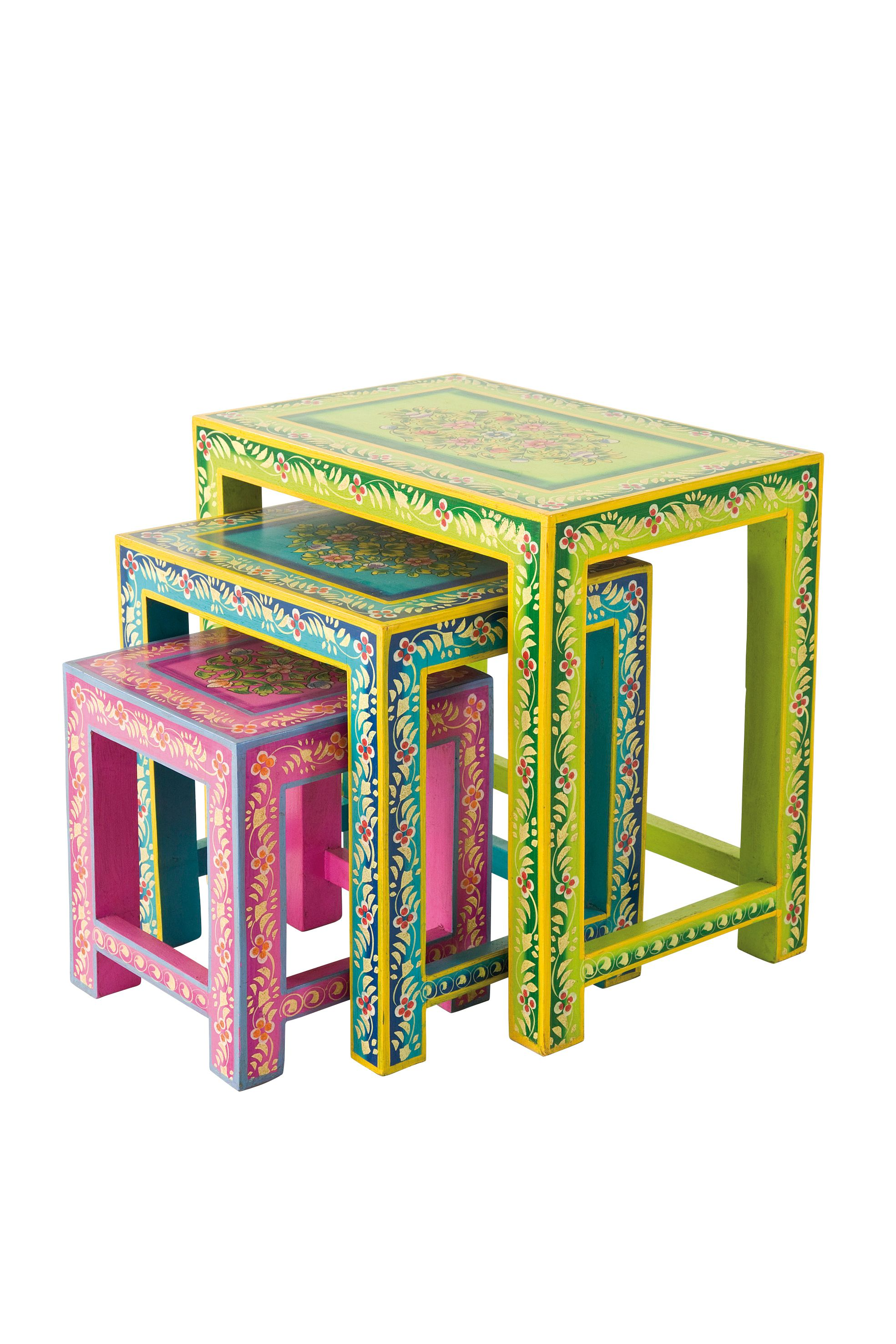 kare design orientalische handbemalte beistelltische als set aus mangoholz ethno styling und. Black Bedroom Furniture Sets. Home Design Ideas
