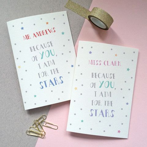 Personalised Teacher Star Card - thank you notes for teachers