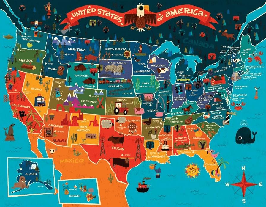 25 Mapas Para Conocer Estados Unidos Arte Con Mapas Mapa De Estados Unidos Mapas Ilustrados