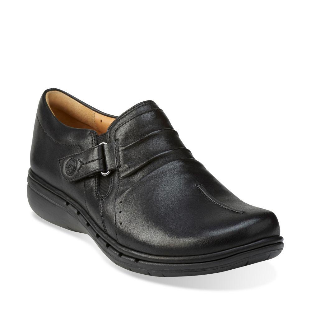Womens Shoes Clarks Un Casey Black Leather