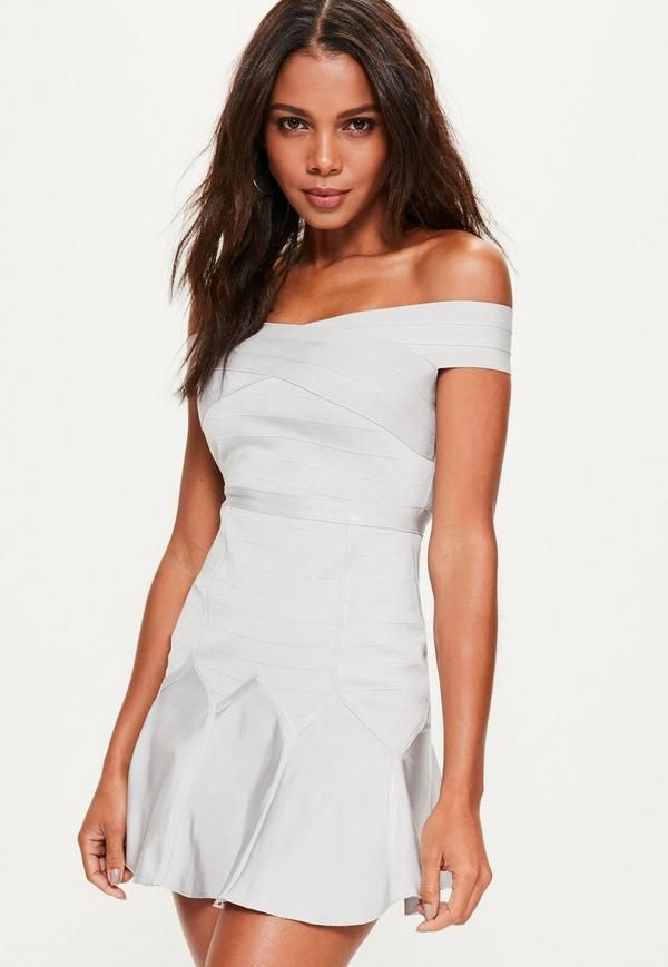 b232f5aeb36b we're lusting over skater dresses here at Missguided and this grey dress is  at the top of our list have list - featuring a bandage design, bardot style  top ...