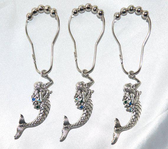 Mermaid Shower Curtain Hooks, Silver & Swarovski Crystals, Color Choice Blue Aqua Purple, Ocean Bath #mermaidbathroomdecor
