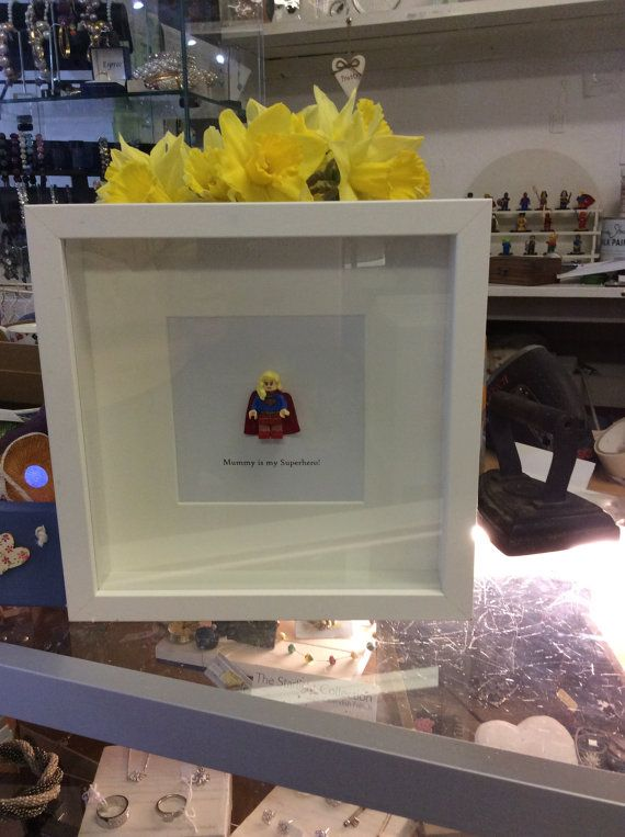 Personalised Wall Art Box Frame Picture Gift with Lego replica DC ...