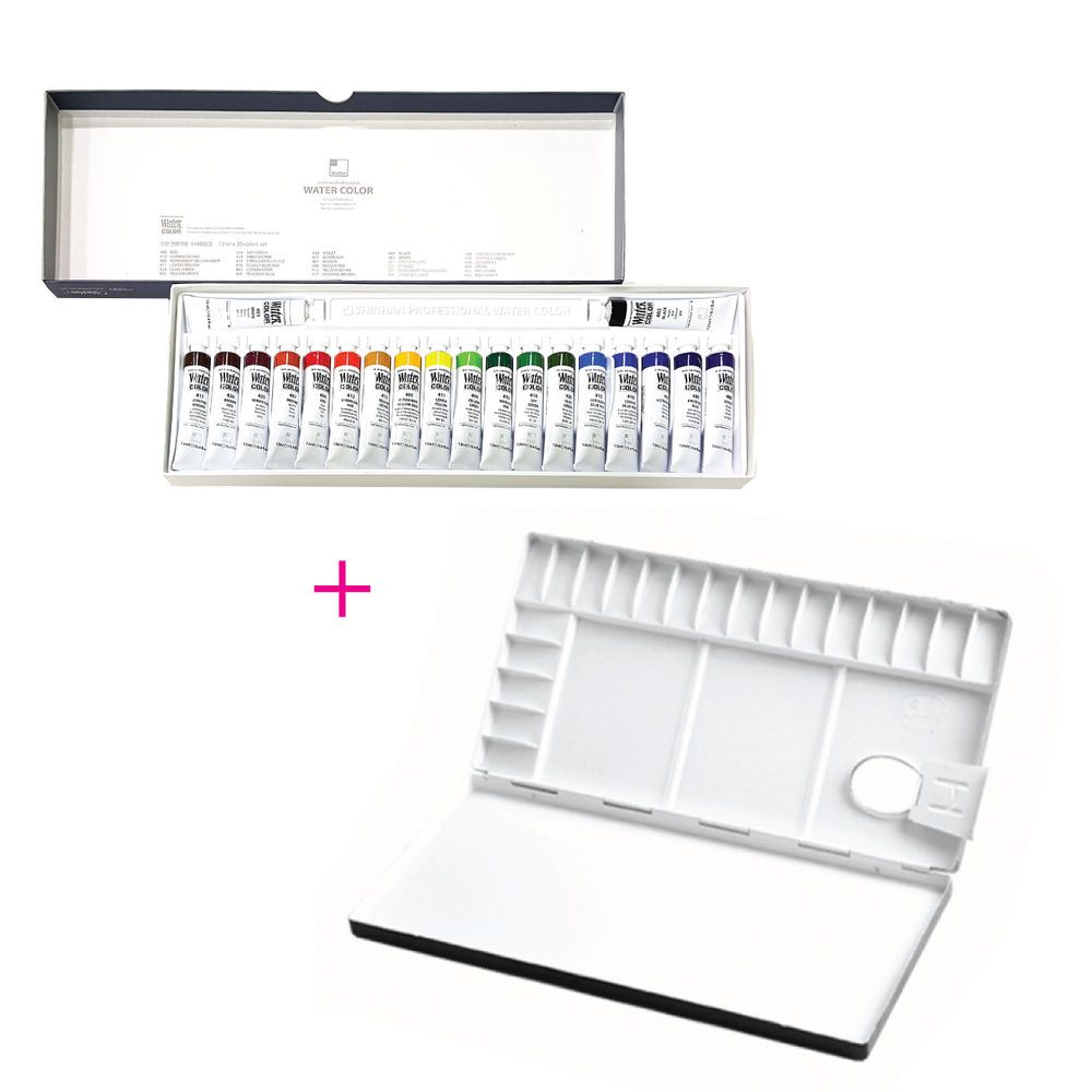 ShinHan Watercolor Palette Durable light Polycarbornate Slant Embossed 35+2Well
