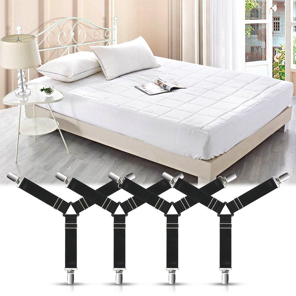 4pcs Adjustable Bed Sheet Fasteners Suspenders Premium Elastic Sheet Strap Clips And Metal Holder With Triangl Cushions On Sofa Adjustable Beds Mattress Covers