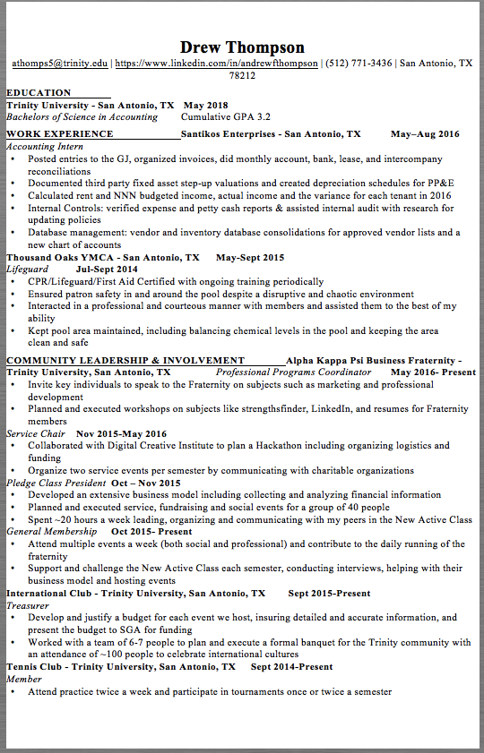 Accounting Internship Resume Sample Example Accounting Intern Resume Drew Thompson Athomps5Trinity