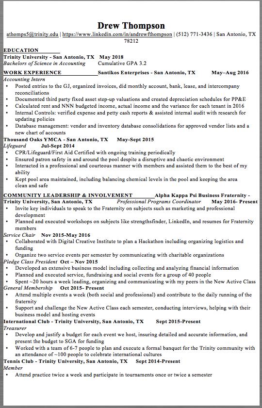 Example Accounting Intern Resume Drew Thompson Athomps5 Trinity Edu Https Www Linkedin Com In Andre Resume Template Examples Resume Sample Resume Templates