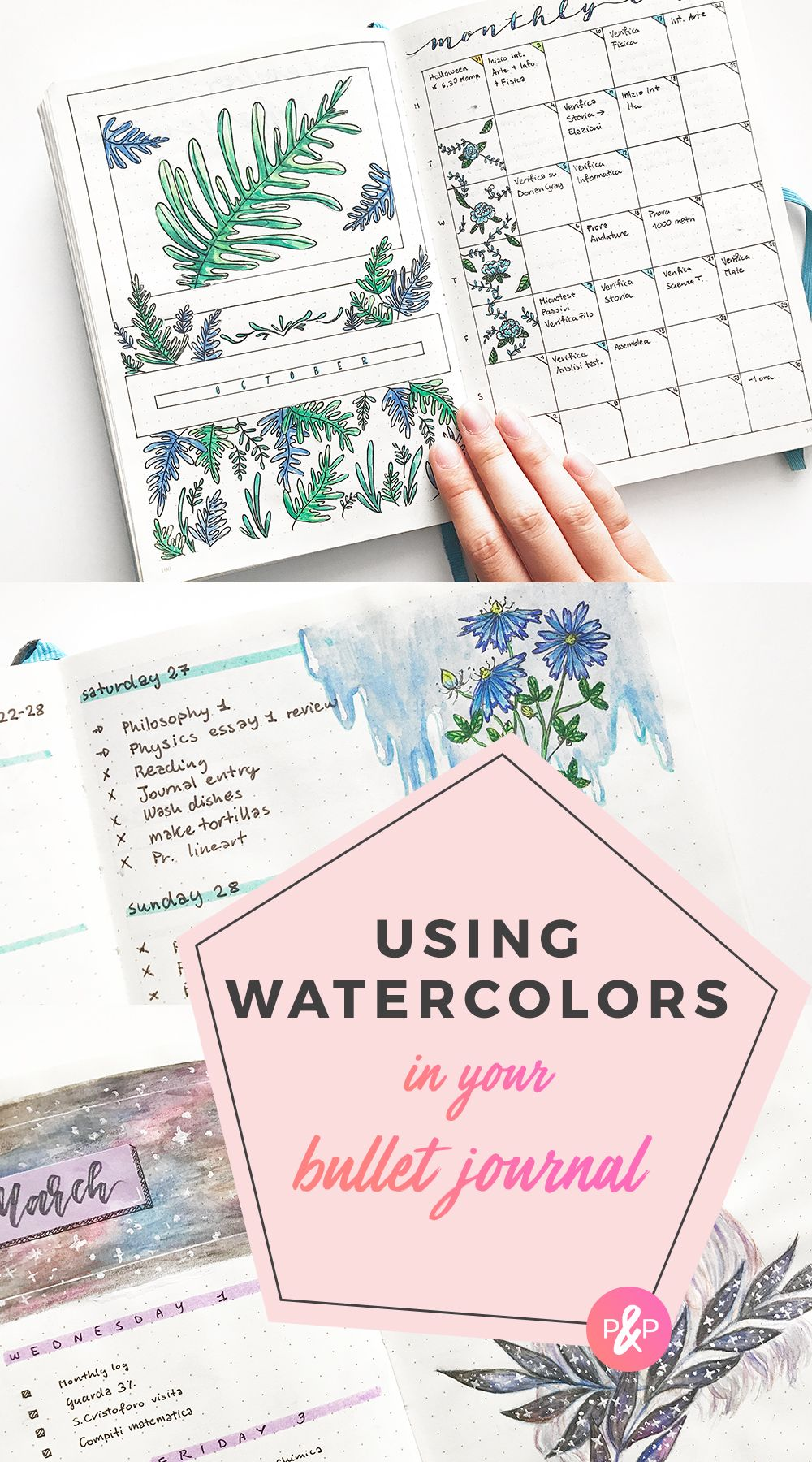 How To Use Watercolor In Bullet Journal Or Planner Bullet