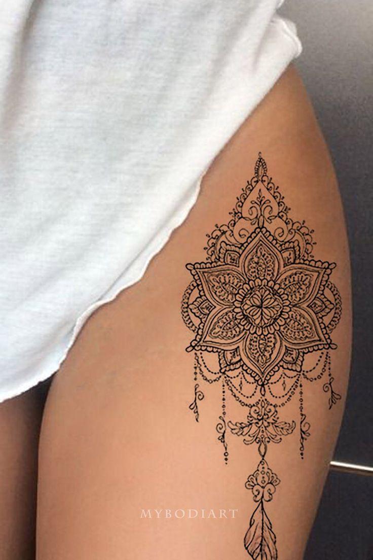 Photo of Tribal Boho Black Lace Mandala Chandelier Feather Leg Tattoo Ideas For Women …