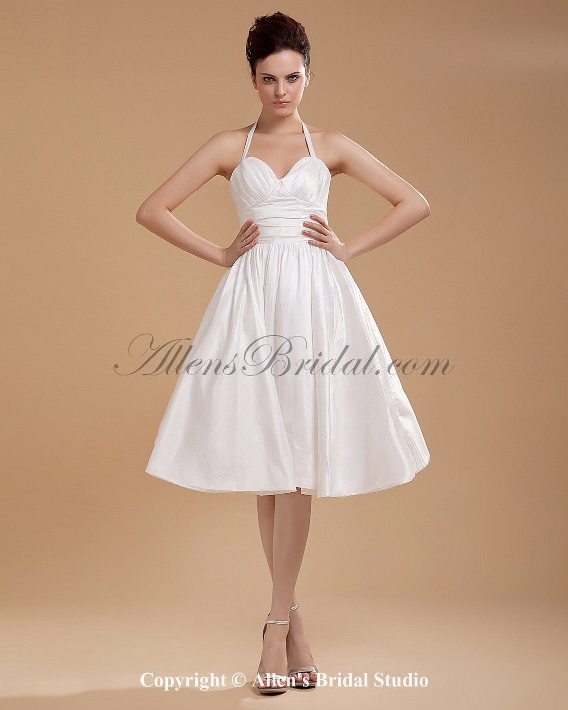 Satin And Yarn Halter Neckline Knee Length A Line Wedding Dress With Ruffle On