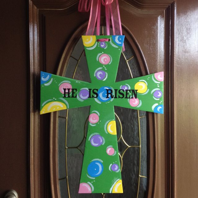 Painted Wooden Easter Cross