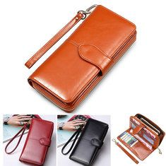 Women Retro PU Leather Bag Rivet Rectangular Purse Wallet Case Zipper Phone Bag Sale - Banggood Mobile