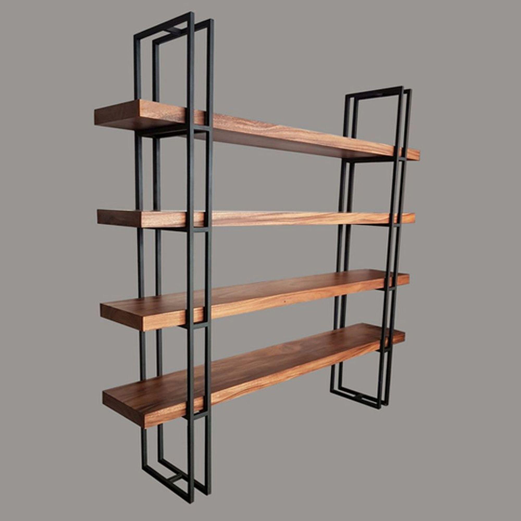Bookshelves Solid Acacia Wood Bookshelf And Steel Frame L Arcanum Home Sydney Wood Bookshelves Acacia Wood Furniture Color Wood Stain