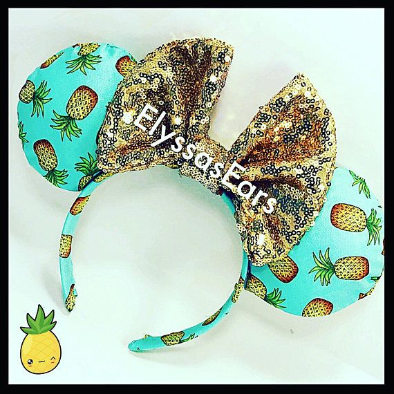 Pineapple Dole Whip Minnie Ears, mickey ears, disneyland, custom,  personalized, gift