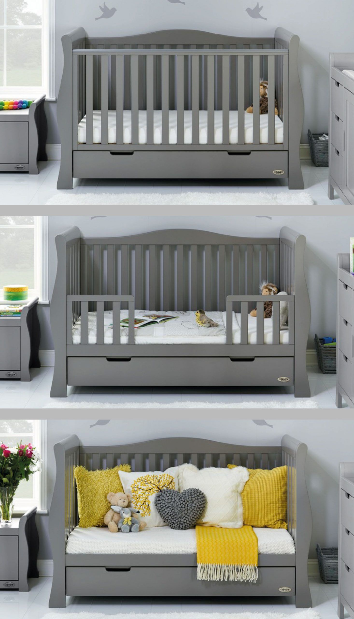 Obaby Stamford Luxe Sleigh Cot Bed – Taupe Grey . . . #baby #nursery #babynurser…