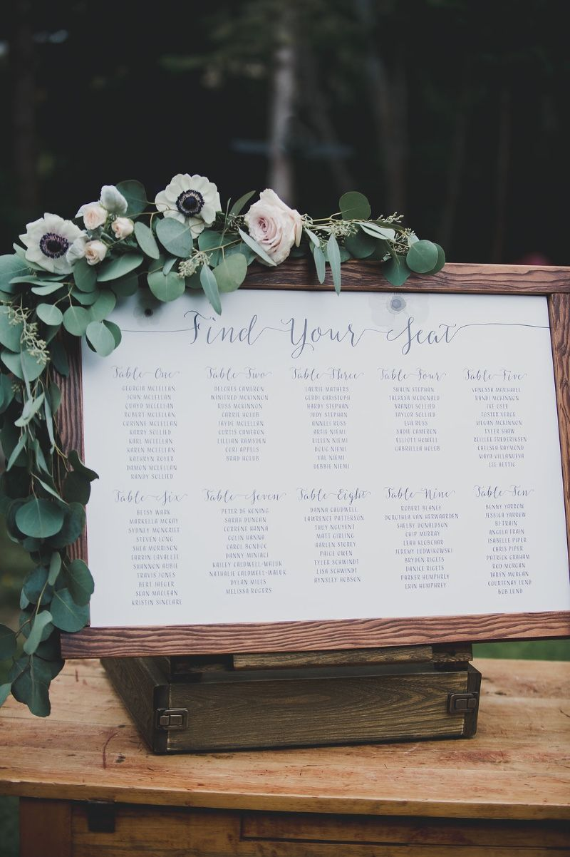 Seating chart for backyard wedding by Tuktu Paper Co. See more here: http://www.tuktupaperco.com