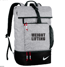 Nike Weightlifting Roll Down Backpack Black Grey | Mens
