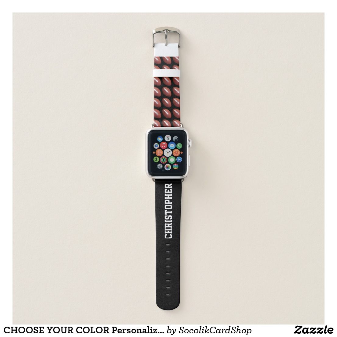 Choose Your Color Personalized Football With Name Apple Watch Band