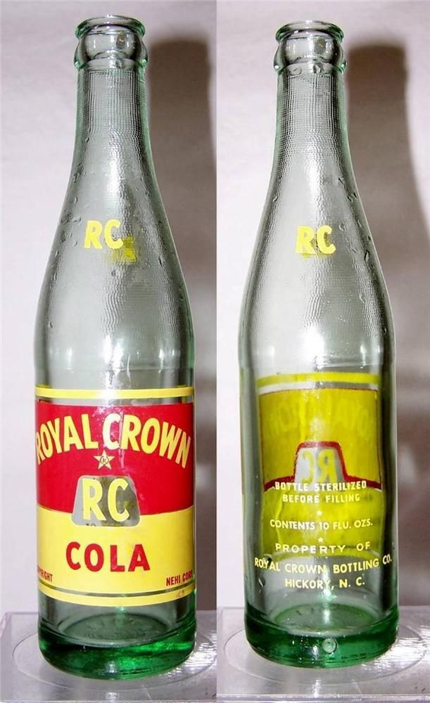 Rare Vintage Rc Royal Crown Cola Soda Bottle 12 Oz 1952 Hickory Nc W