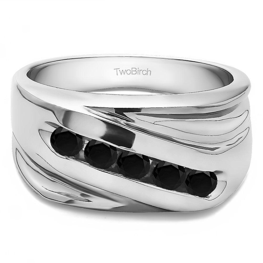 Sterling silver designer menus wedding ring with black diamonds