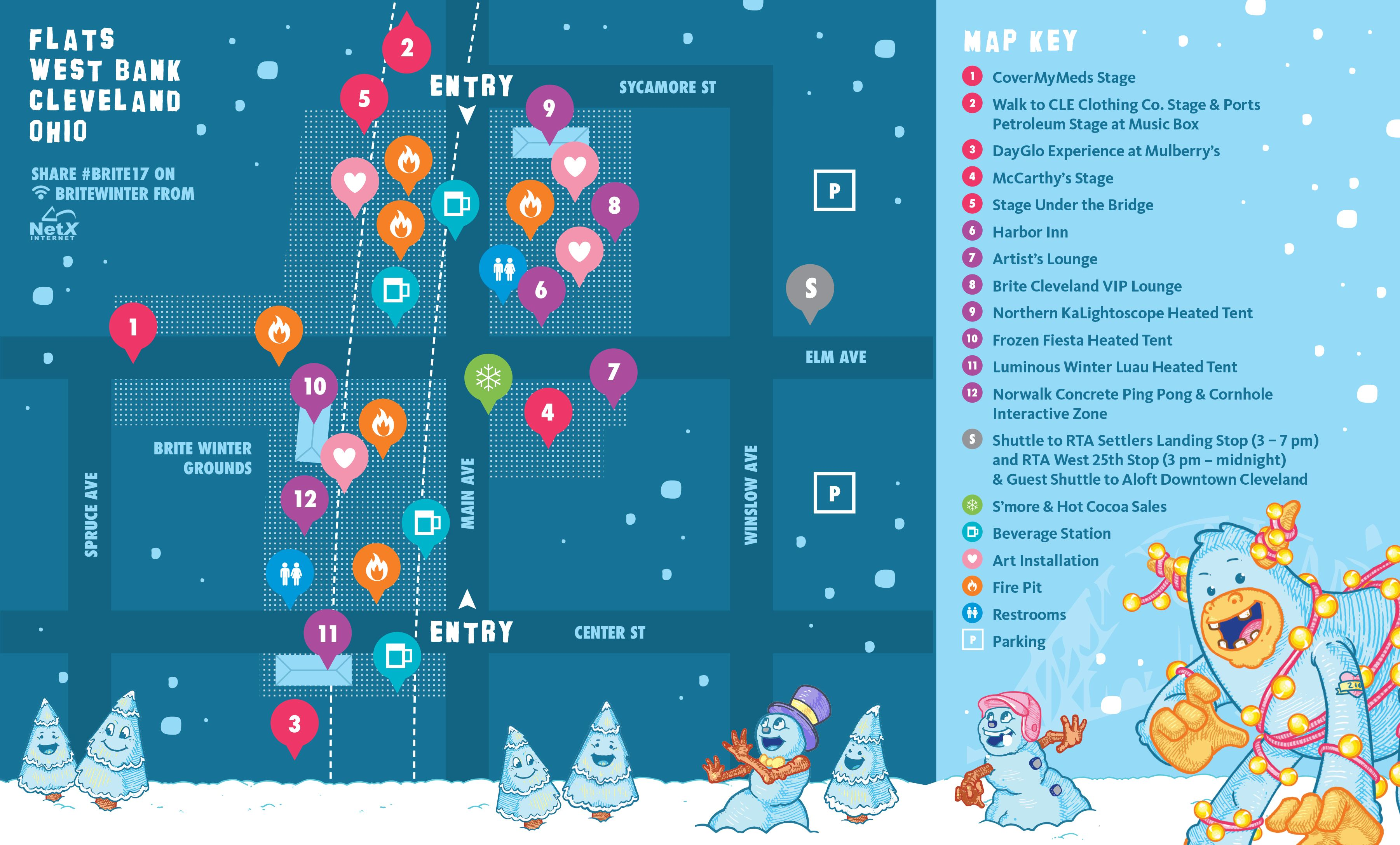 Cleveland West Bank Winter festival, Cartography, Map