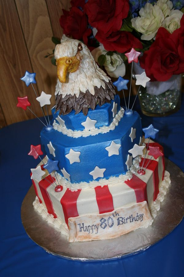 Patriotic 80th birthday cake with 3D eagles head Birthday Cakes