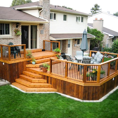 Blueprints For Patio Decks: Two Tiered Deck Design Ideas, Remodels & Photos