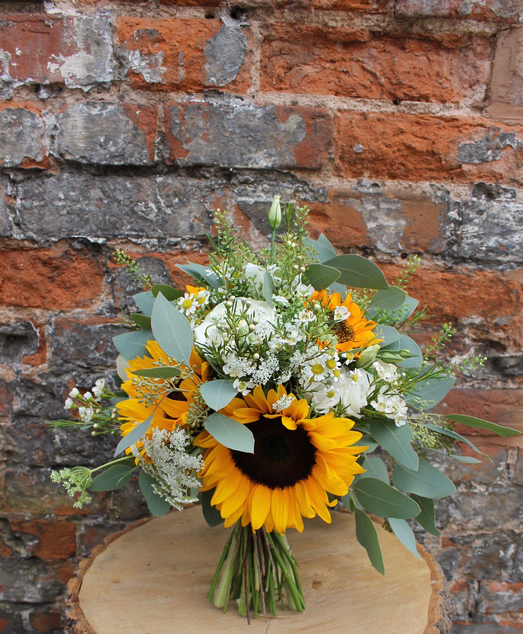 Wedding Flowers Warwickshire: Sunflower Bridal Bouquet