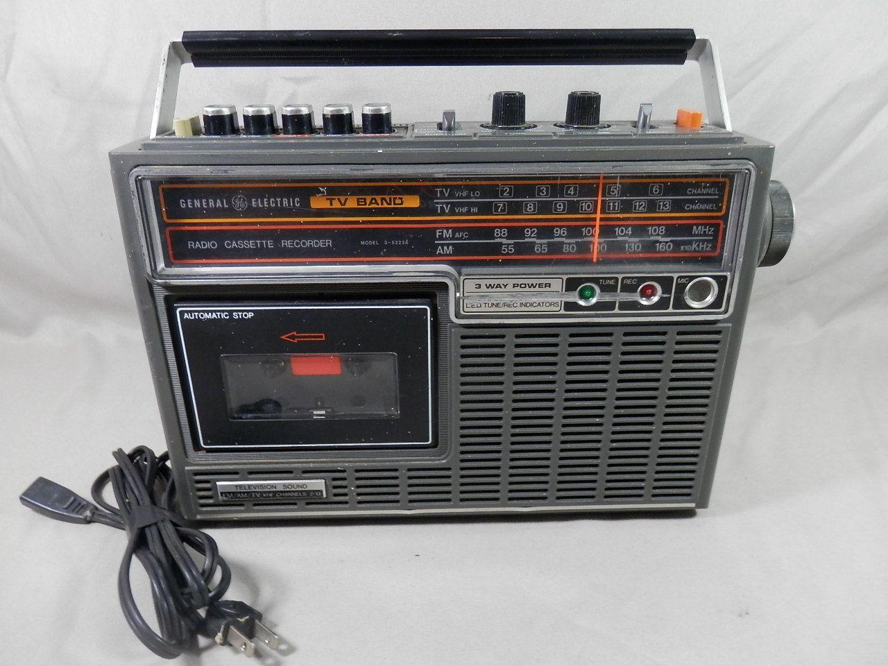 Vintage General Electric Ge Tv Band Am Fm Vhf Radio Cassette Recorder 3 5222a Tv Band Radio Cassette Vintage Electronics