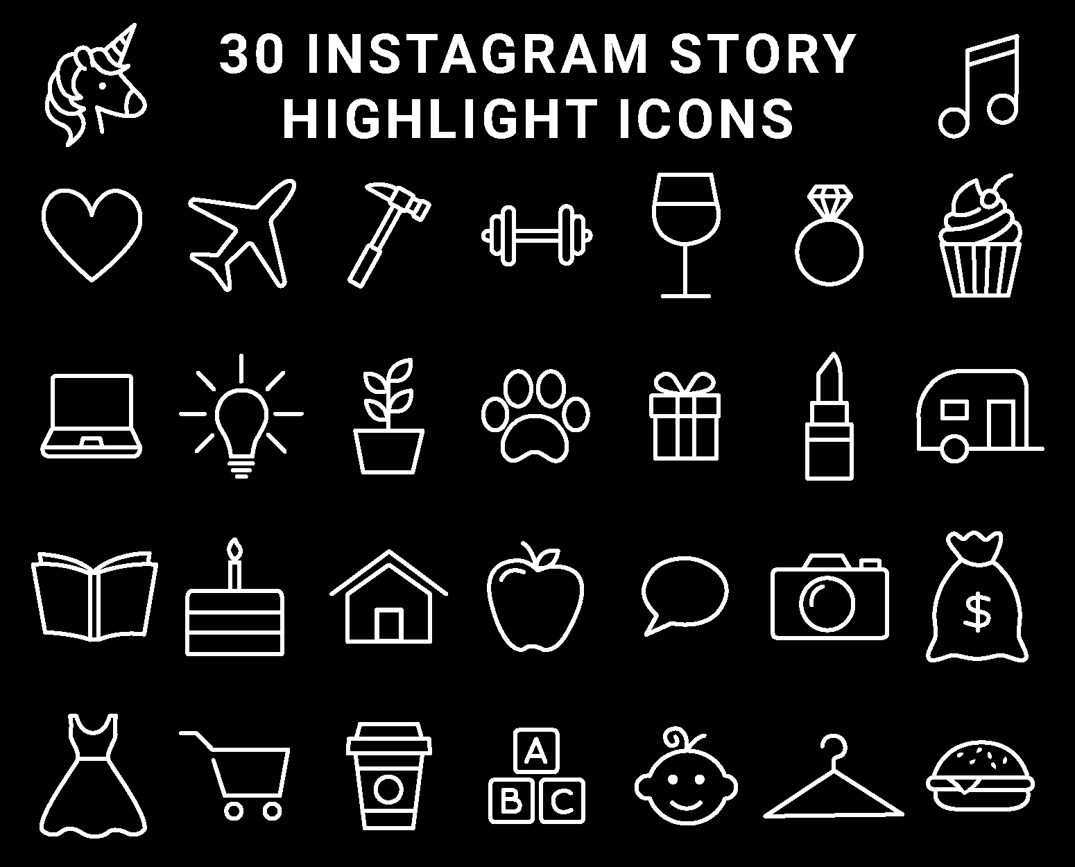 Monochrome Black and White Instagram Highlight Cover Icons