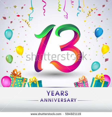 13th Anniversary Celebration Design, with gift box, balloons and confetti, Colorful Vector template elements for your, thirteen years birthday celebration party.