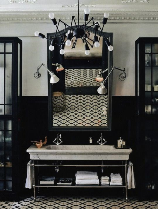 A FABULOUS SINK   The Black And Beige Bath. Light Fixtures Tangled Mess,  Take Away From The Look And Over All Design. Too Bad   Everything Else Is  ...
