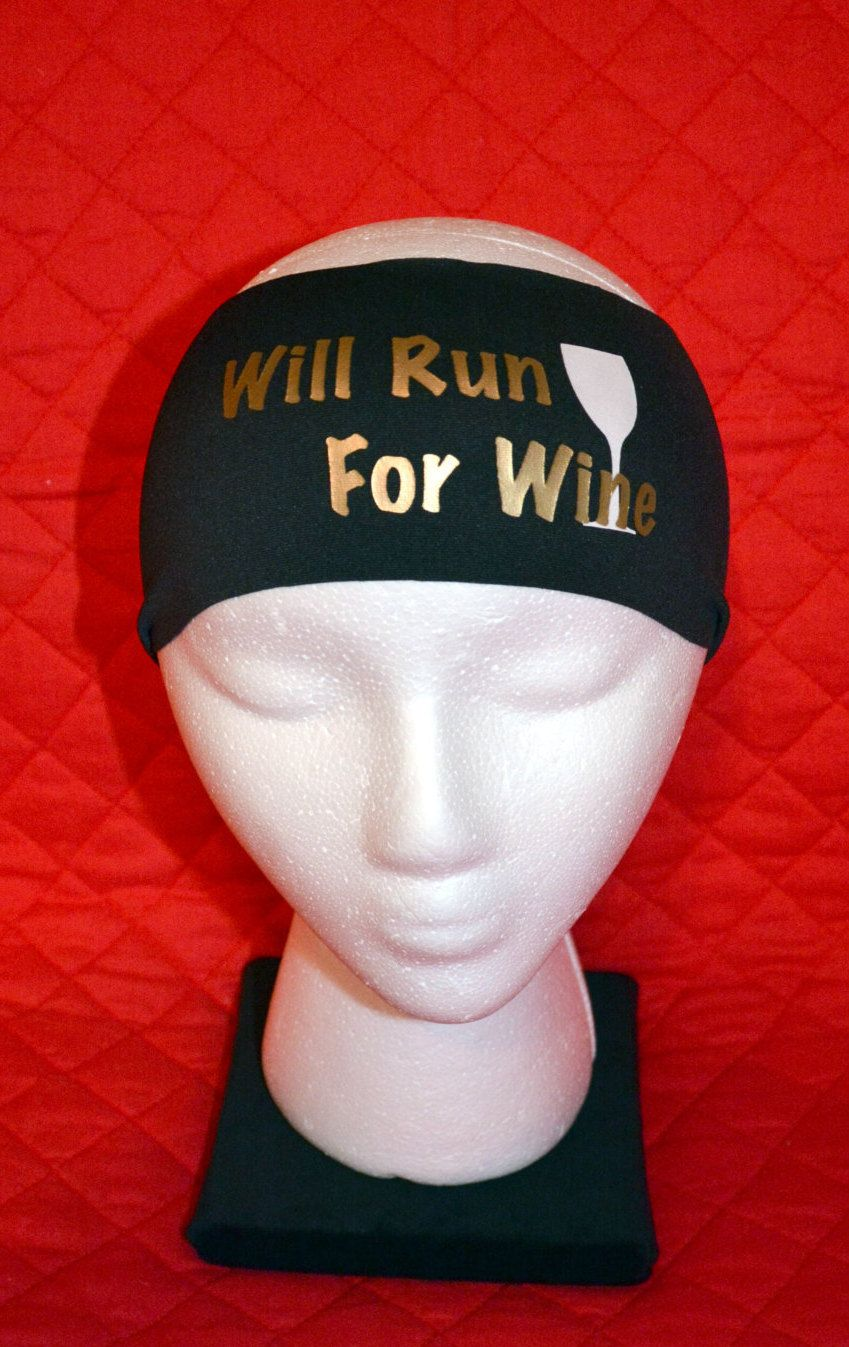 Will Run For Wine Spandex Headbands Black Band With Gold Lettering And White Wine Glass By Jegoheadbands On Spandex Headband Headbands Bachorlette Party