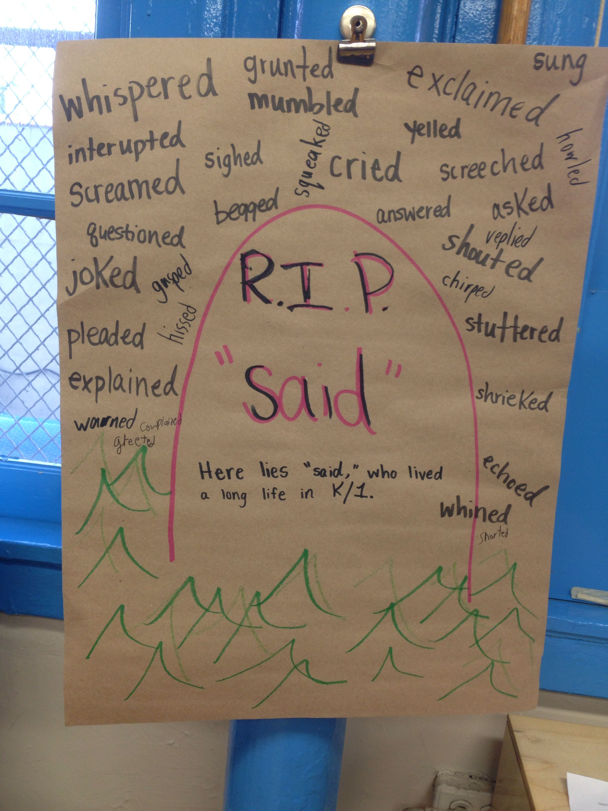 Said Is Dead Dialogue Writing Second And Third Grade